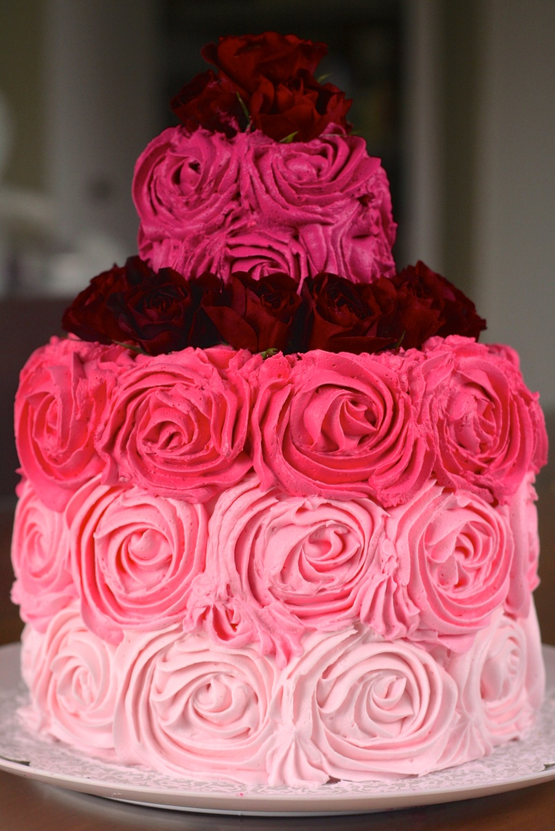 95th Birthday Ombre Rose Cake